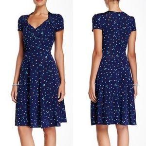 Leota Polkadot Jersey Fit & Flare Wrap Dress